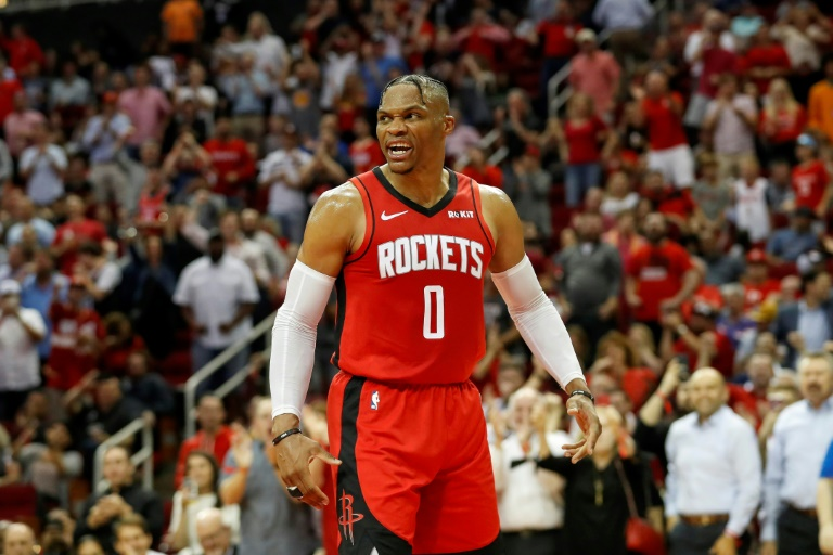 Russell Westbrook des Houston Rockets face aux Milwaukee Bucks en NBA, le 24 octobre 2019 à Houston