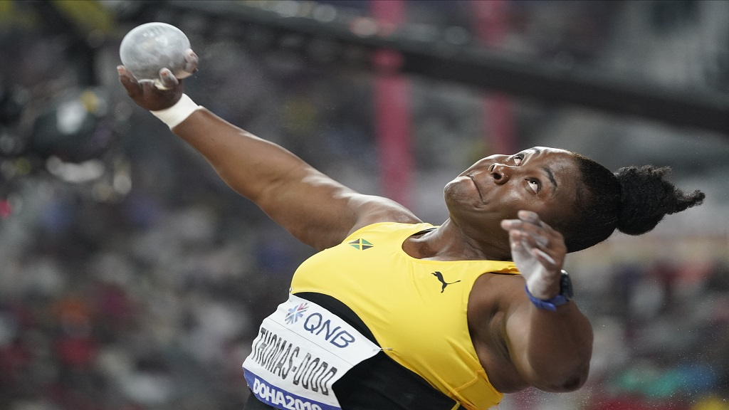 Danniel Thomas-Dodd, of Jamaica, competes in the women's shot put final at the World Athletics Championships in Doha, Qatar, Thursday, Oct. 3, 2019. (AP Photo/David J. Phillip).