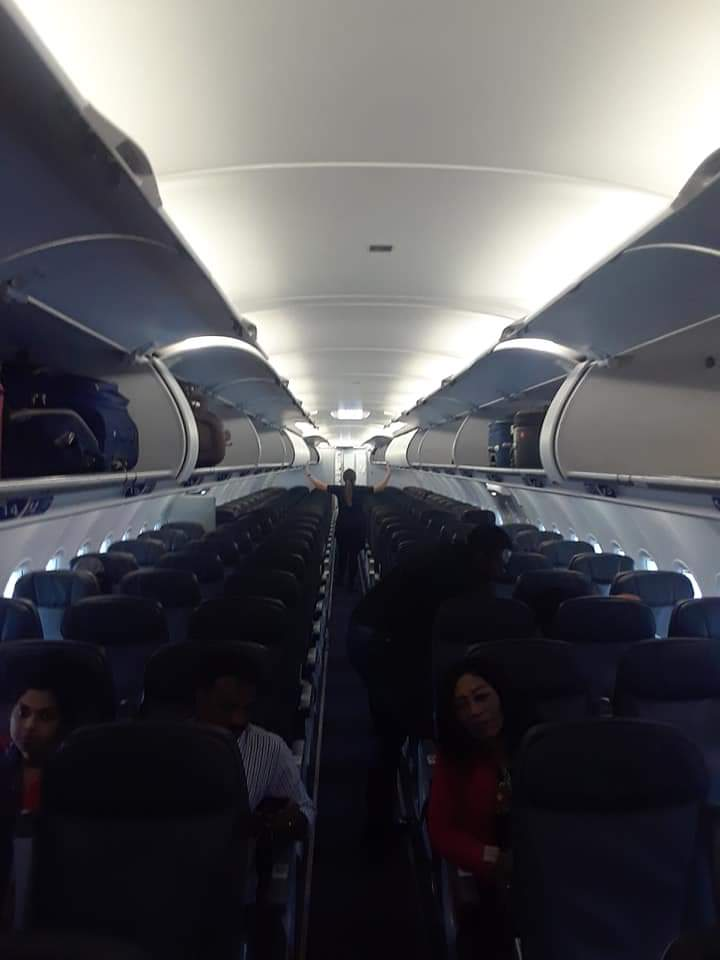 Photo prise par Fanfan Poinçon, un passager haïtien, à bord d'un avion venant de New York, en direction de Port-au-Prince.