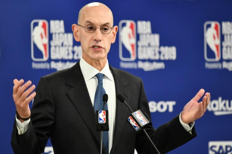 Le patron de la NBA Adam Silver lors d'une conférence de presse à Saitama, le 8 octobre 2019 au Japon