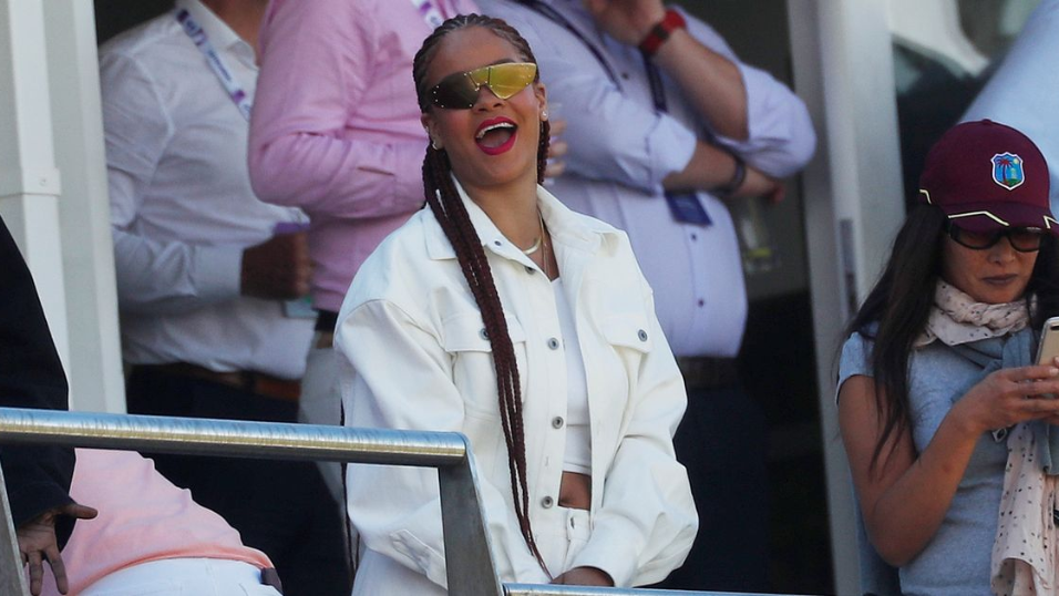Rihanna enjoying the game.