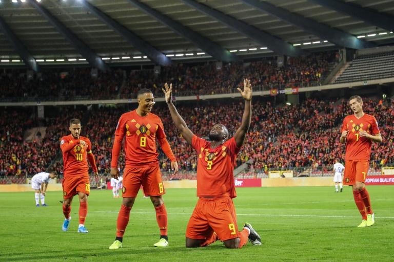 L'attaquant belge Romelu Lukaku après avoir inscrit un but contre San Marin, le 10 octobre 2019 à Bruxelles