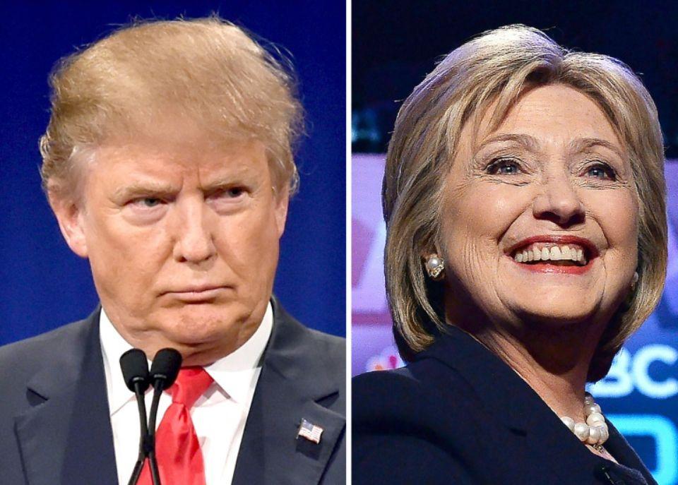 Le candidat à l'investiture républicaine Donald Trump, le 14 janvier 2016, et la candidate à l'investure démocrate Hillary Clinton, le 4 février 2016 Photo DSK. AFP
