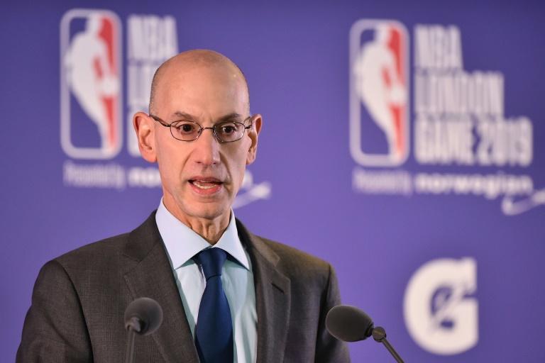 Le patron de la NBA, Adam Silver, lors d'une allocution, le 17 janvier 2019 à Londres