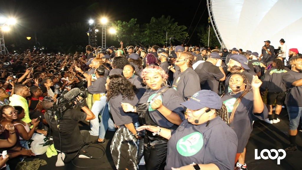 Kanye West's Sunday Service choir performing at the Emancipation Park in New Kingston on Friday.