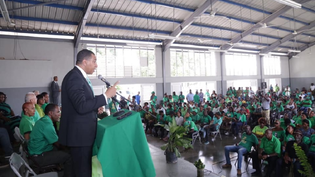 Prime Minister and Jamaica Labour Party leader Andrew Holness addressing Labourites at a party meeting on Sunday. (Photo: Andrew Holness Facebook)