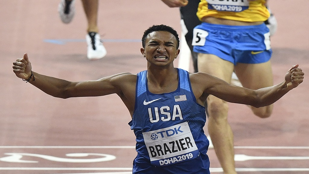 Donavan Brazier, of the U.S., celebrates winning the the men's 800m final at the World Athletics Championships in Doha, Qatar, Tuesday, Oct. 1, 2019. (AP Photo/Martin Meissner).