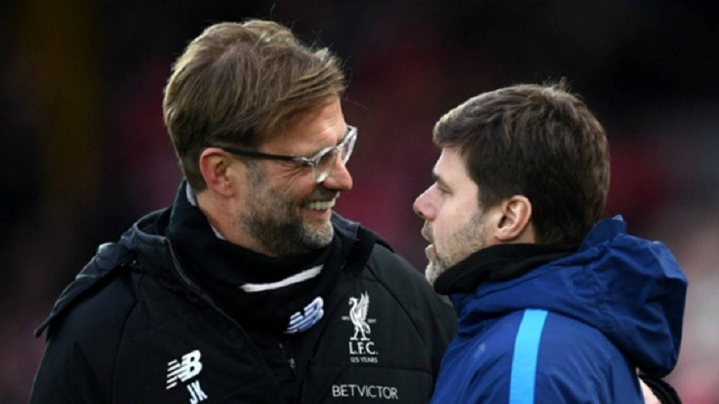 Liverpool's manager Jurgen Klopp (left) and Tottenham's Mauricio Pochettino.