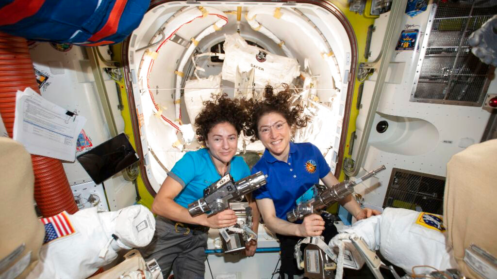 In this photo released by NASA on October 17, 2019, US astronauts Jessica Meir, left, and Christina Koch pose for a photo in the International Space Station.(NASA via AP)