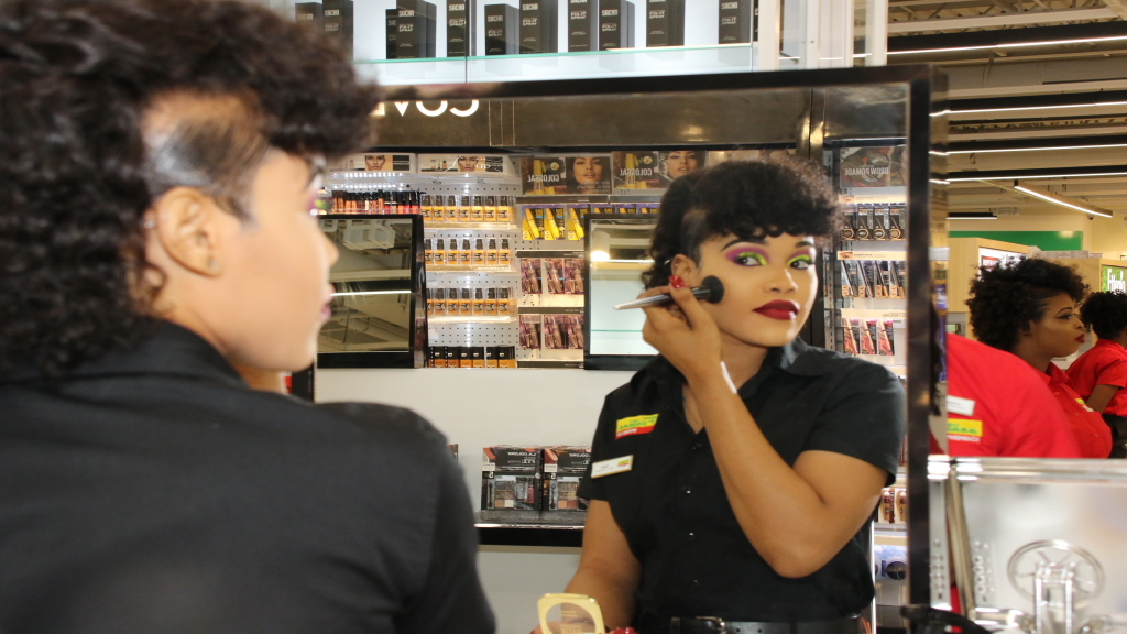 A Fontana beauty specialist showcasing her makeup skills at the new Fontana location in Waterloo Square.