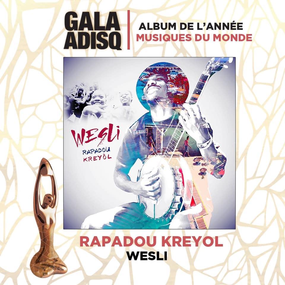 Wesli Louissaint remporte le prix Album de l'année-Musique du monde de l'ADISQ 2019 avec son album titré Rapadou Kreyòl Crédit Photo: FB Wesli Louissaint