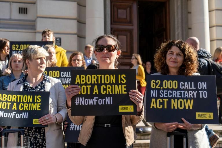 Manifestation appelant à changer la loi sur l'avortement en Irlande du Nord, le 26 février 2019 à Londres afp.com - Niklas HALLE'N