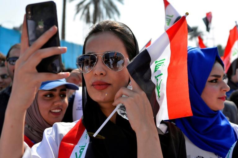 Des manifestants dans la ville irakienne de Diwaniyah (centre) le 31 octobre 2019 afp.com - Haidar HAMDANI