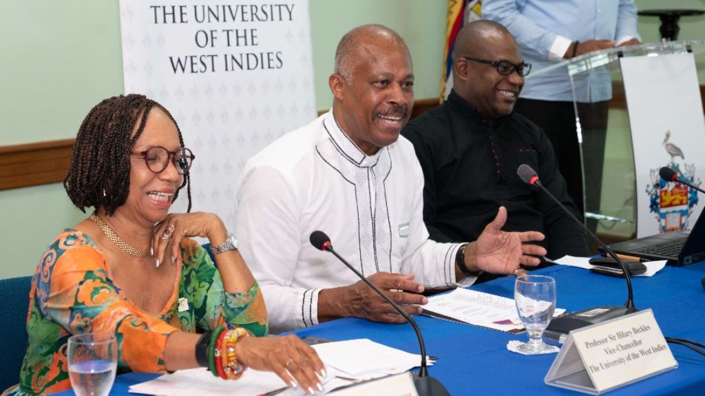 From left to right: Professor Eudene Barriteau of the Cave Hill Campus; Vice-Chancellor, of The UWI, Professor Sir Hilary Beckles and Pro-Vice-Chancellor Densil Williams at a media briefing to announce the rankings in Barbados last week.