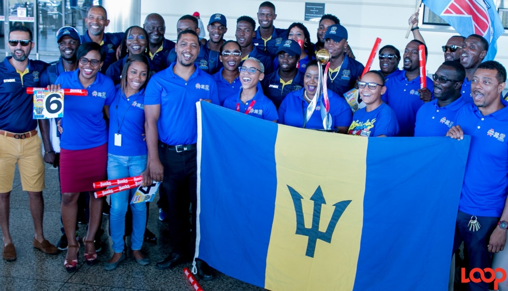 Barbados Tridents celebrated in Barbados on their return.