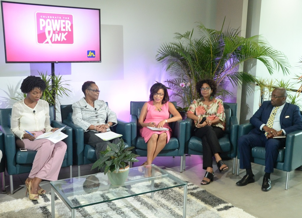 Yulit Gordon (3rd right), executive director of the Jamaica Cancer Society makes a point during the JN Power of Pink think tank session.  Listening are from left: Kamala McWhinney, psychologist and breast cancer survivor; Dr Beverley Wright, director, health systems support and monitoring unit in the Ministry of Health; Dr Saphire Longmore, consultant psychiatrist and breast cancer survivor and Dr Damian Ffriend, senior manager, JN Life Insurance.