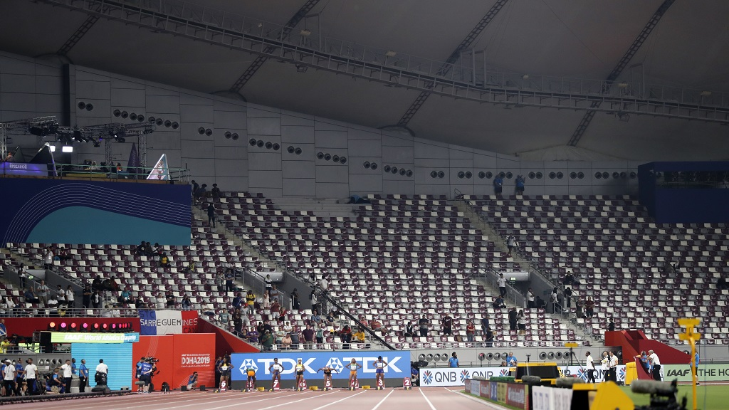 Empty seats before the the women's 100 meter final at the World Athletics Championships in Doha, Qatar, Sunday, September 29, 2019. (AP Photo/Petr David Josek)