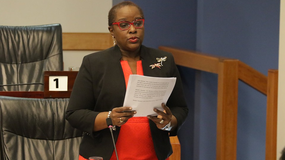 Leader of the House, Camille Robinson-Regis, winds up the debate on the motion to approve the draft EBC (Local Government and THA) Order, 2019. © 2019 Office of the Parliament.