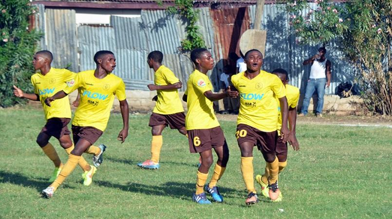 File photo of Haile Selassie players celebrating during a Manning Cup game.
