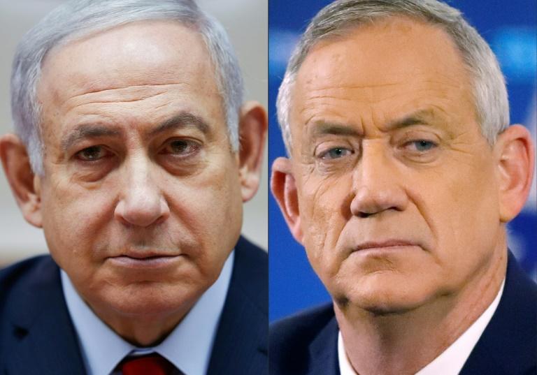Montage photo du Premier ministre israélien Benjamin Netanyahu (à gauche, à Jérusalem le 9 décembre 2018) et de son adversaire Benny Gantz, ancien chef de l'armée (à droite, le 1er avril 2019 à Tel Aviv)