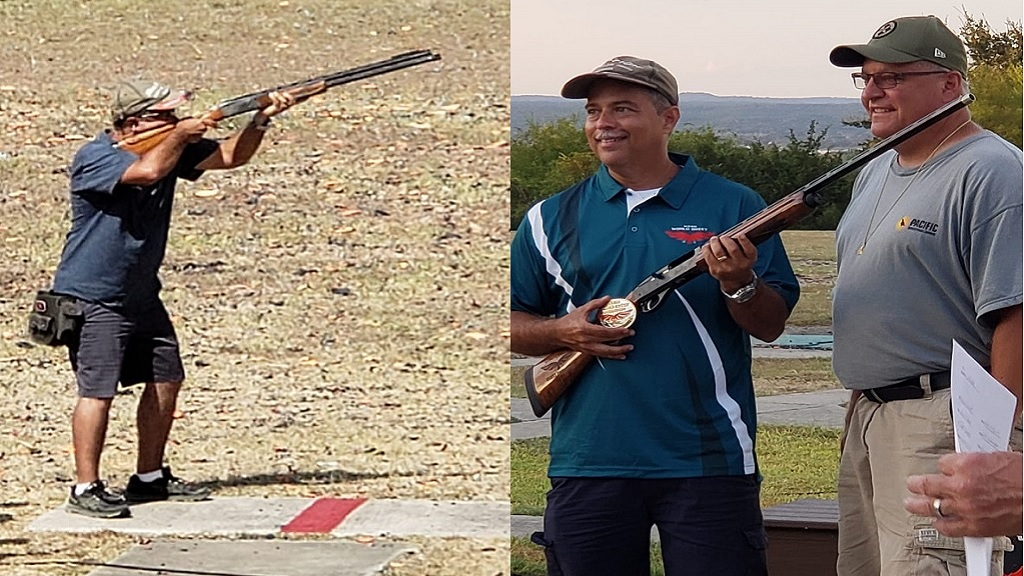 The combination of pictures show Sean Clacken with his new 20-gauge skeet shot gun, which he won at the recently completed NASSA World Skeet Championship in San Antonio Texas.