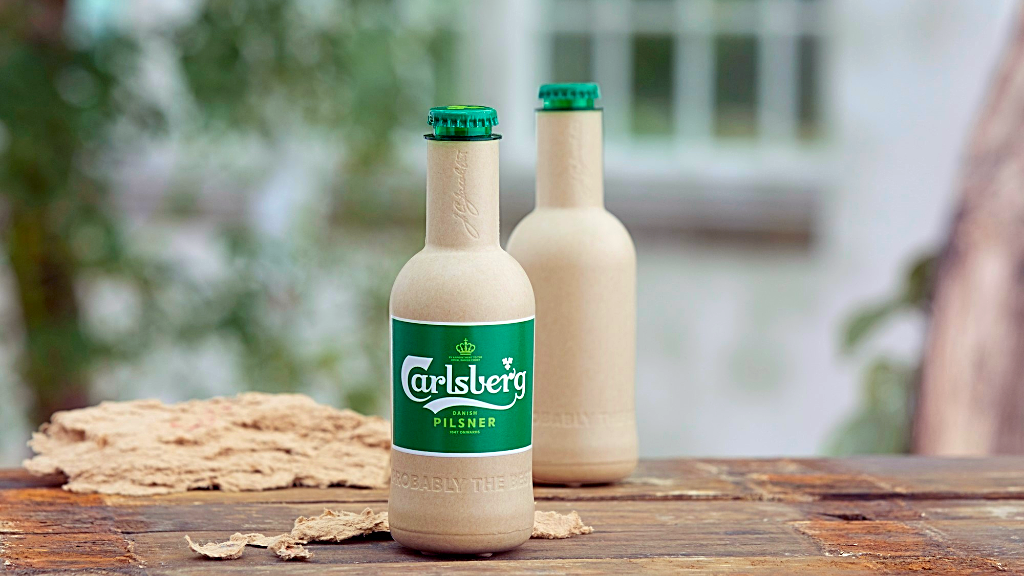 Beer company Carlsberg paper bottle
