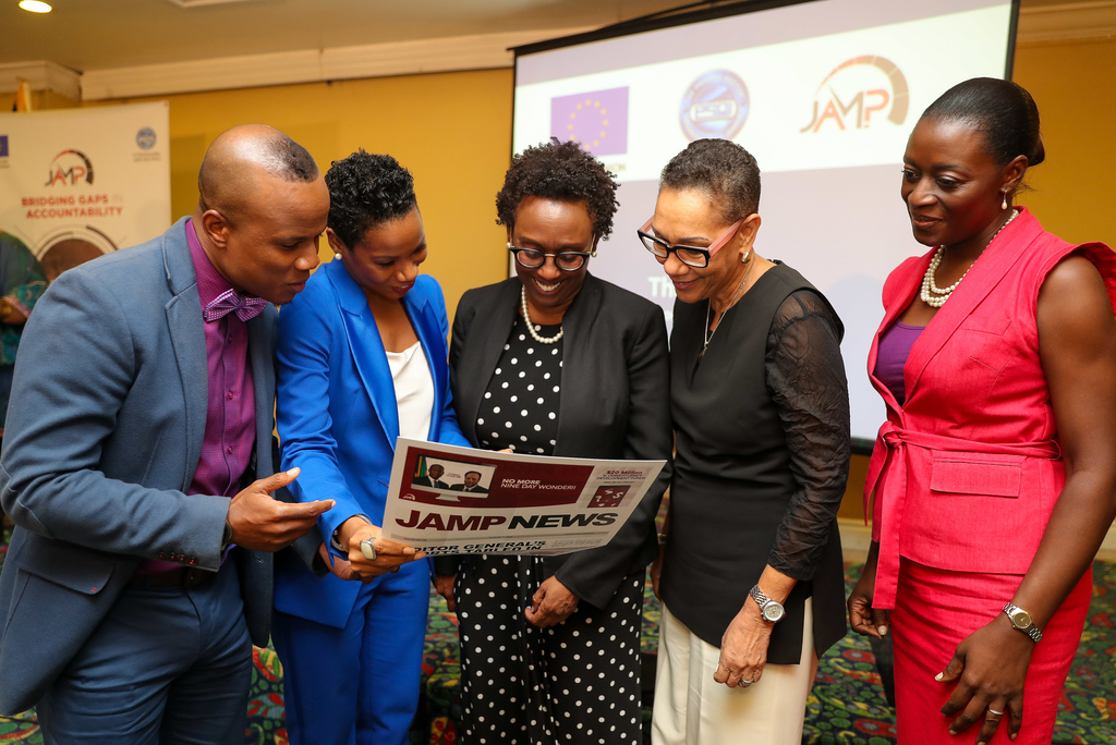 (From left to right): George Davis, Press Association of Jamaica (PAJ) president, Makeba Bennett-Easy, PSOJ CEO, Jeanette Calder, Executive Director of JAMP,  Eva Lewis, PSOJ Honorary Secretary and Country Officer of Citibank (Jamaica) and Vanna Lawrence, Project Manager, EU Delegation to Jamaica.