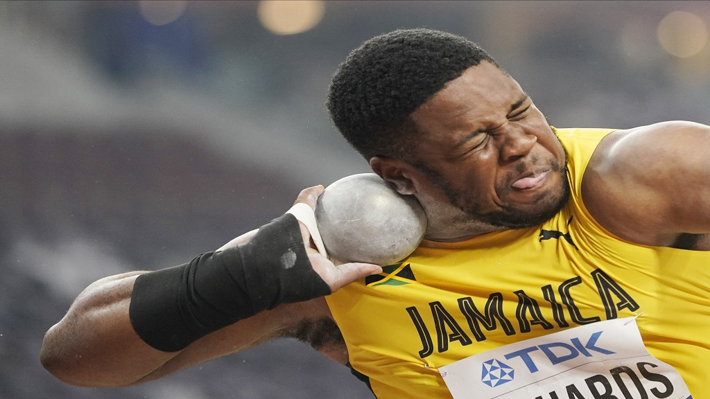 O'Dayne Richards, of Jamaica, competes in the men's shot put qualification at the World Athletics Championships in Doha, Qatar, Thursday, Oct. 3, 2019. (AP Photo/David J. Phillip).