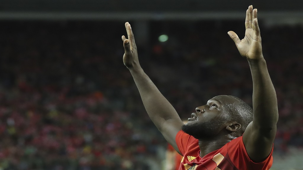 Belgium's Romelu Lukaku, center, jubilates after scoring during the Euro 2020 group I qualifying soccer match between Belgium and San Marino at the King Baudouin Stadium in Brussels, Thursday, October 10, 2019. (AP Photo/Francisco Seco)