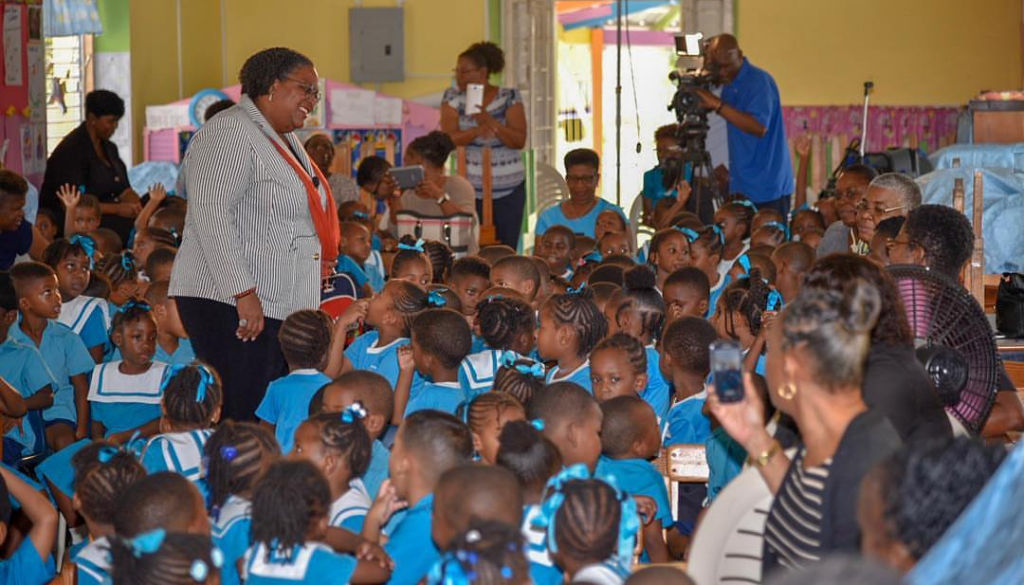 Prime Minister Mia Mottley at St Stephen's Nursery School