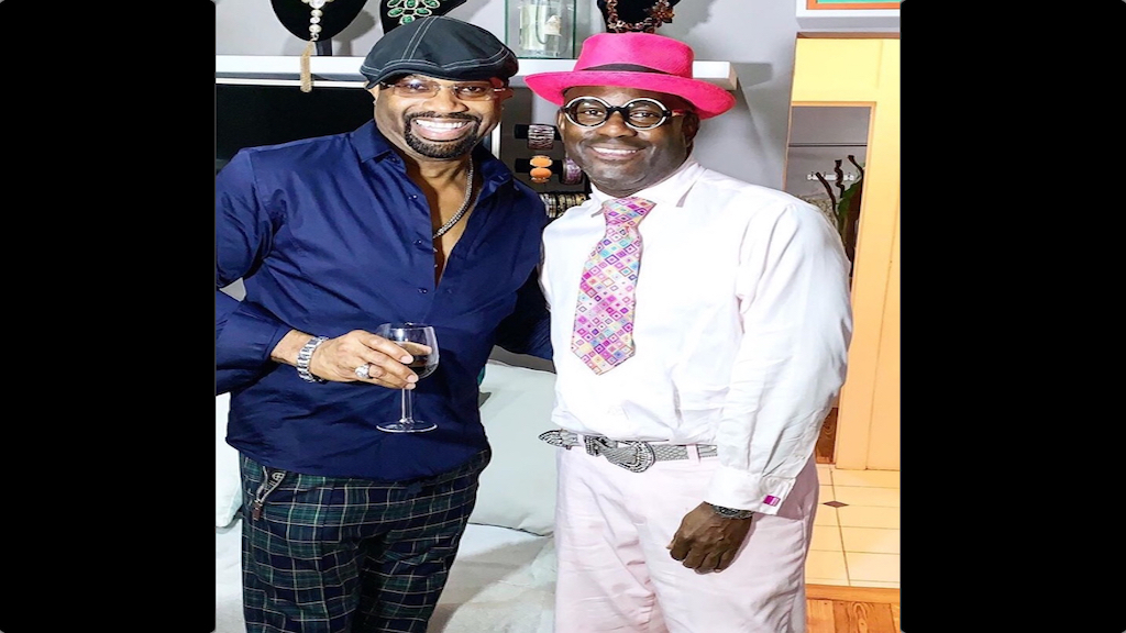 Five-time Grammy-winning recording artiste Pablo Stennett (left) with celebrated chef Colin Hylton.