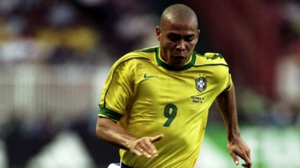 Ronaldo in action for Brazil.