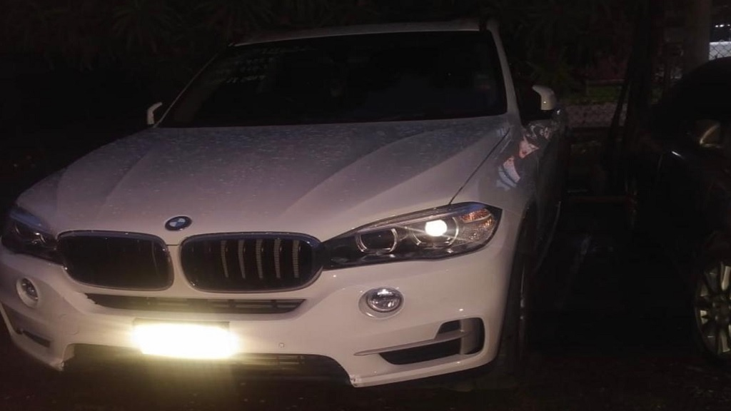 The BMW motorcar in which a security manager of a prominent resort in St James was apprehended, reportedly with an illegal firearm and ammunition, after a chase and standoff with the police in the parish on September 28.