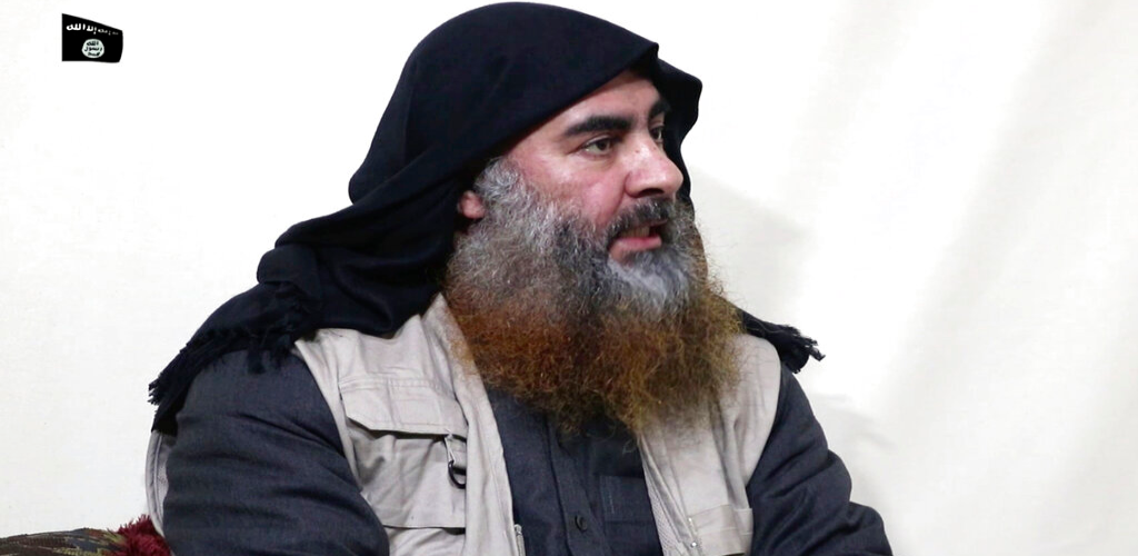 This file image made from video posted on a militant website April 29, 2019, purports to show the leader of the Islamic State group, Abu Bakr al-Baghdadi, being interviewed by his group's Al-Furqan media outlet.