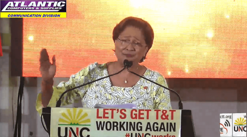 UNC Leader Kamla Persad-Bissessar speaks at the party's Monday Night Forum at Preysal High School, Couva on September 2, 2019.