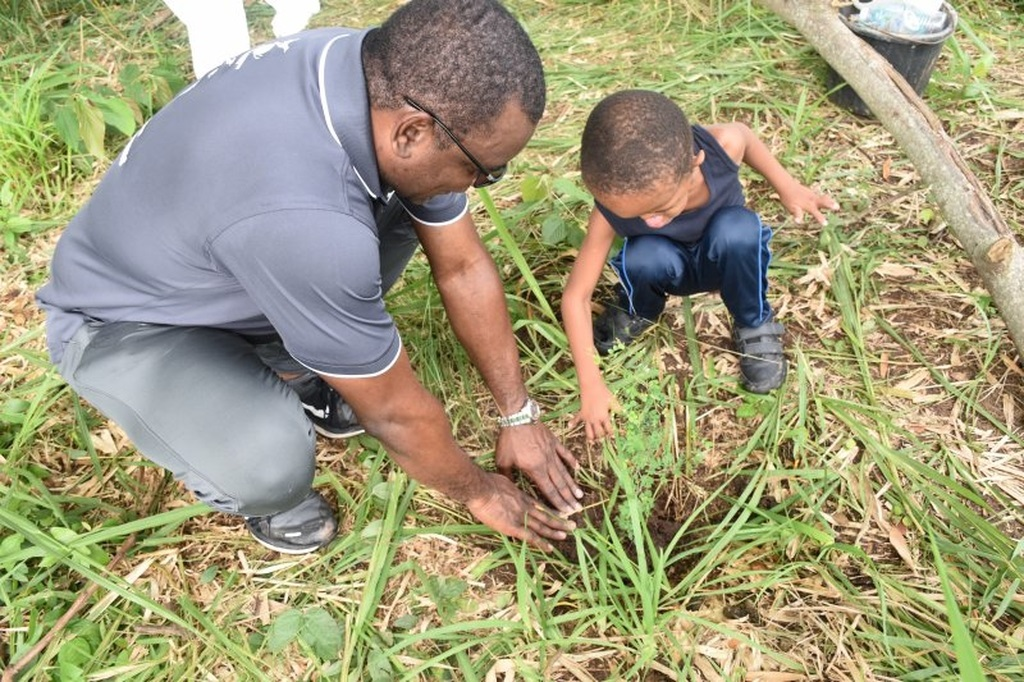 Wayne McKenzie, President & CEO of JEP, WKPP and JPPC, assists Tajaun Allison, son of WKPP Accounts Payables Officer, Kerene Crawford, to plant a tree in Seaward Mountain this past Saturday.