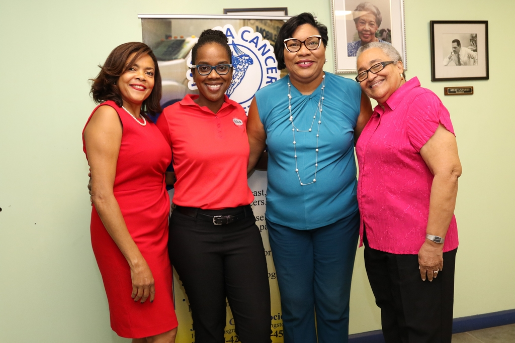 From left: Yulit Gordon, executive director at Jamaica Cancer Society (JCS); Tamii Brown, commercial and corporate affairs manager at Salada Foods Jamaica; Dianna Blake-Bennett, general manager at Salada Foods Jamaica; and Carolind Graham, president of Jamaica Reach to Recovery mirror bright smiles after Salada presented a cheque for $100,000 to assist JCS.