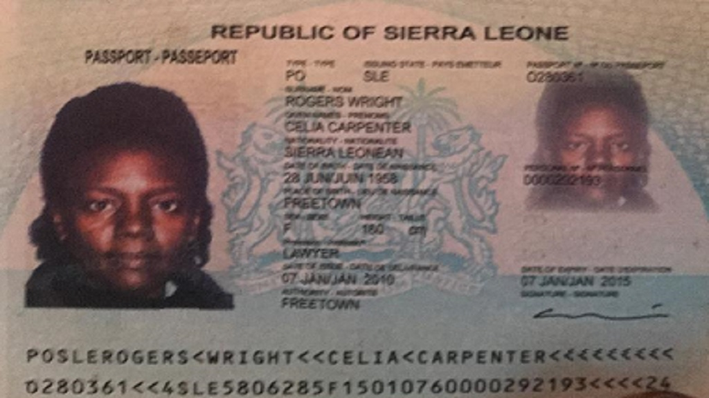A page from what is believed to be a passport belonging to the suspected female scammer