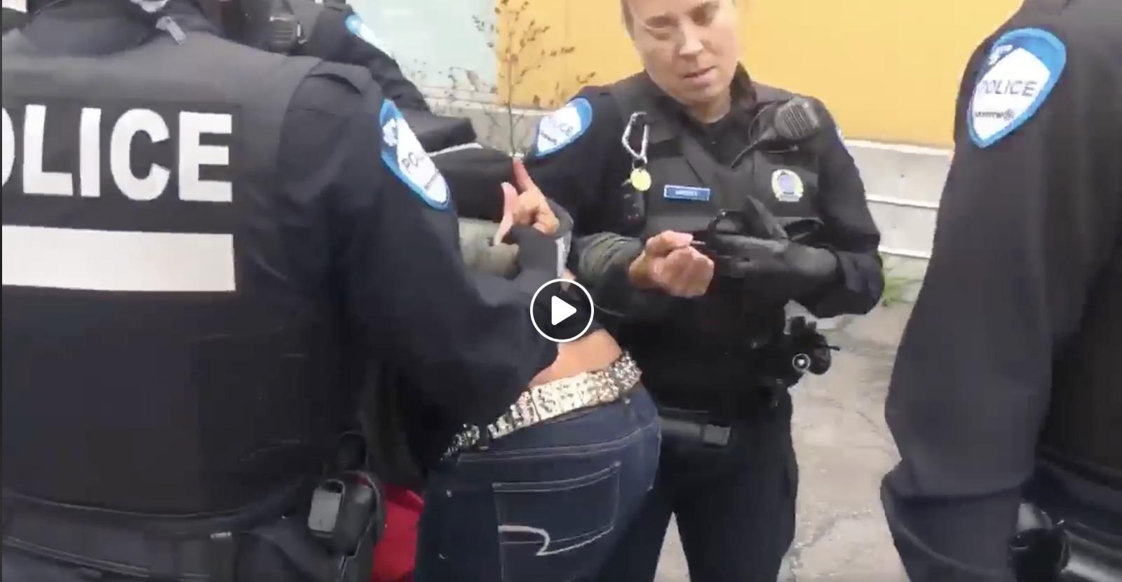 Capture vidéo de l'arrestation de Marie Dimanche, une protestataire haïtienne, lors d'une manifestation au Canada. Page Facebook: Solidarite Québec-Haïti.