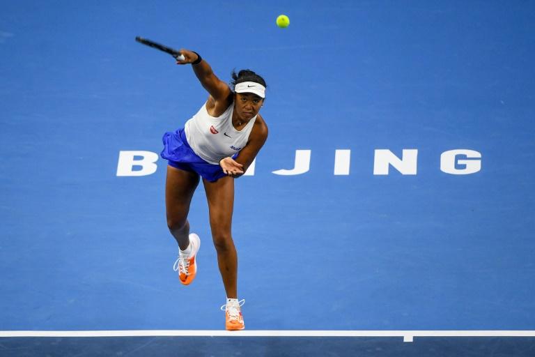 La Japonaise Naomi Osaka face à la Danoise Caroline Wozniacki en demi-finale du tournoi de Pékin, le 5 octobre 2019