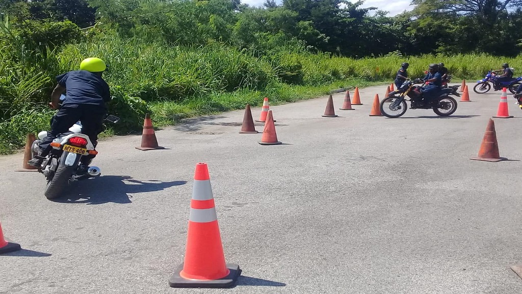 Police personnel participating in specialised bike riding training in Montego Bay, St James in preparation for the rolling out of a quick response unit in the second city and western parish.