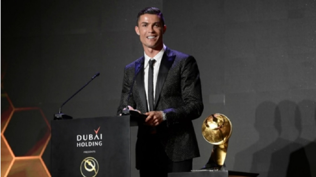 Cristiano Ronaldo at the Globe Soccer Awards.