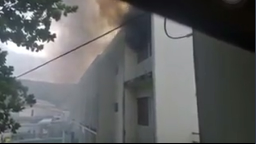 A screen grab from a video of a second-floor fire at the College of Agriculture, Science and Education (CASE) in Passley Garden, Portland on Friday afternoon.