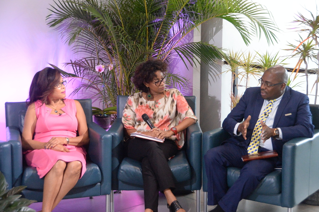 "Dr Damian Ffriend (right), senior manager, JN Life Insurance Company, addresses a recent Think Thank session, organised by The Jamaica National Group, as part of its ""Power of Pink"" campaign, in observance of Breast Cancer Awareness Month. Also pictured (from left) are: Yulit Gordon, Executive Director of the Jamaica Cancer Society and Senator Dr Saphire Longmore, consultant psychiatrist and survivor."