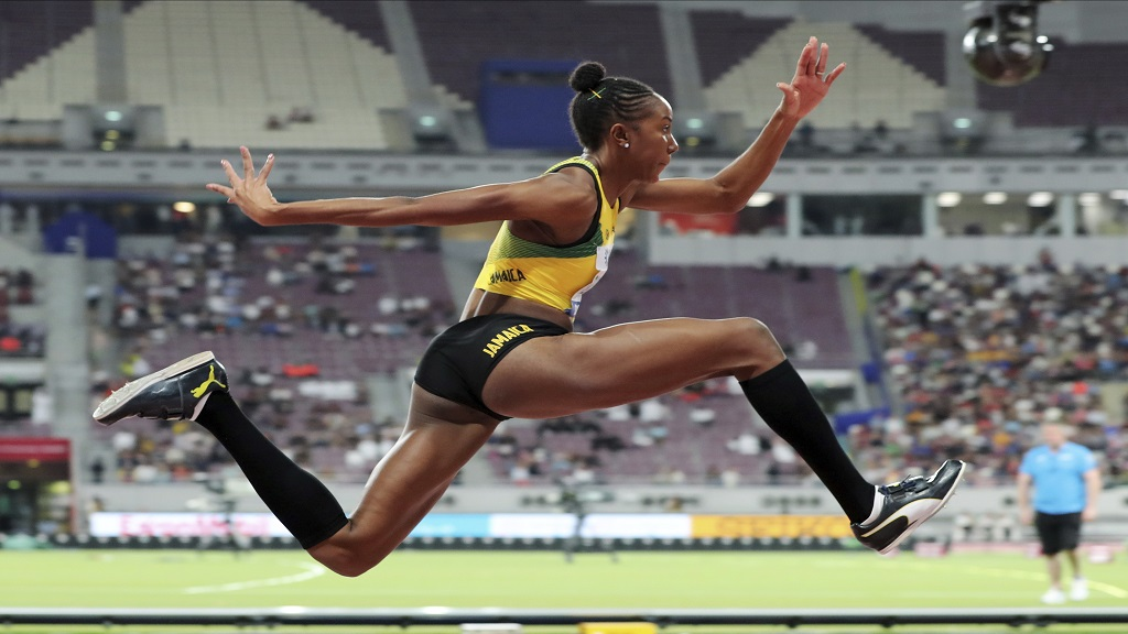 Shanieka Ricketts, of Jamaica, competes in the women's triple jump final at the World Athletics Championships in Doha, Qatar, Saturday, Oct. 5, 2019. (AP Photo/Hassan Ammar).