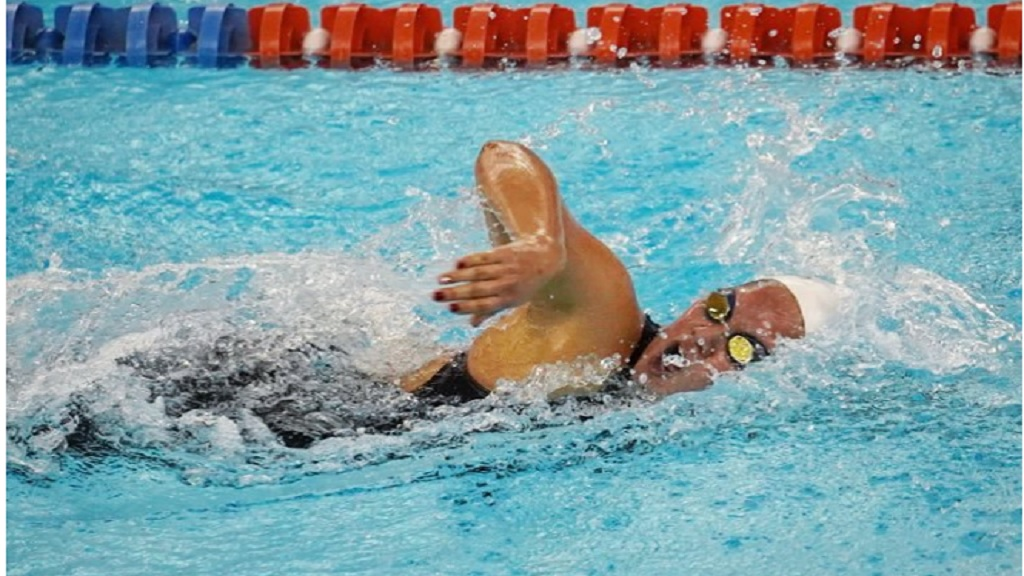 Annabella Lyn competes in the 200- yard freestyle. (Photo courtesy of Mike C Lyn).