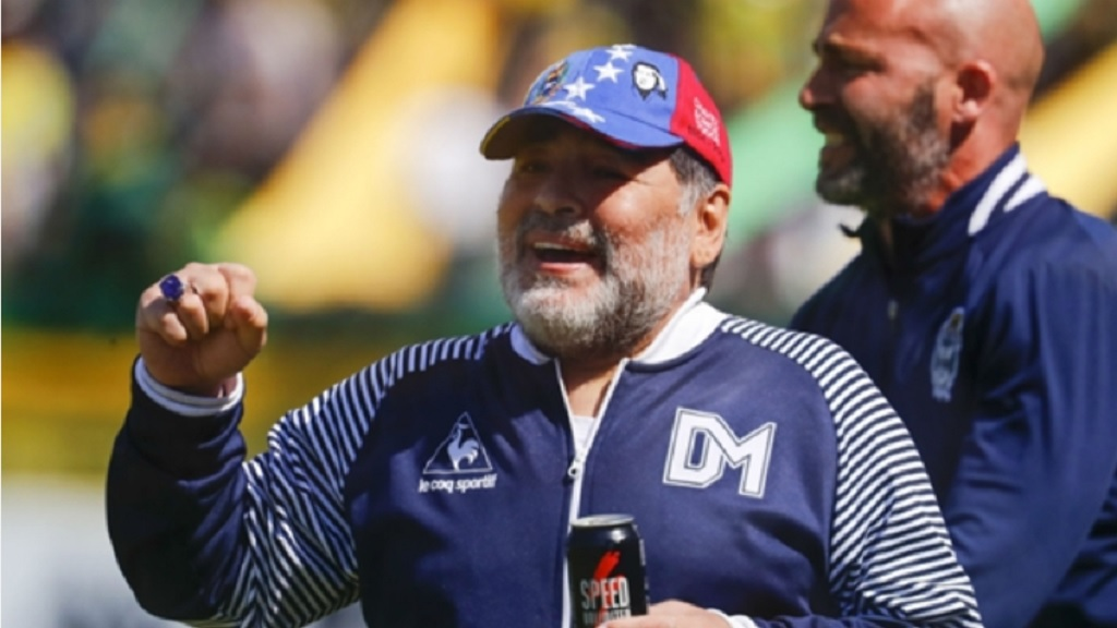 Diego Maradona while in charge of Gimnasia y Esgrima La Plata.