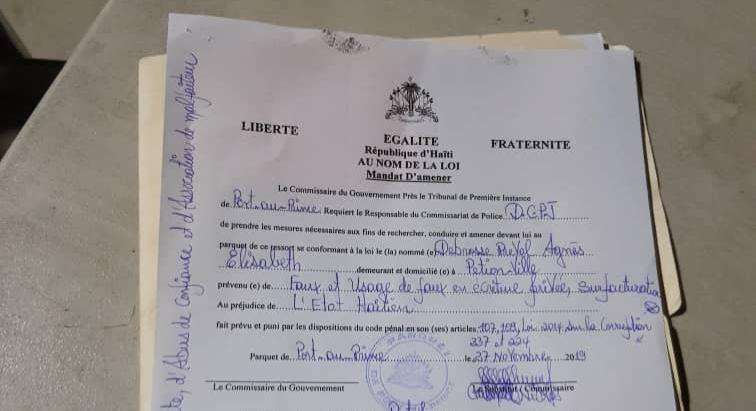Copie de l'un des mandats d'amener, émis par le Commissaire du gouvernement de Port-au-Prince, Jacques Lafontant.