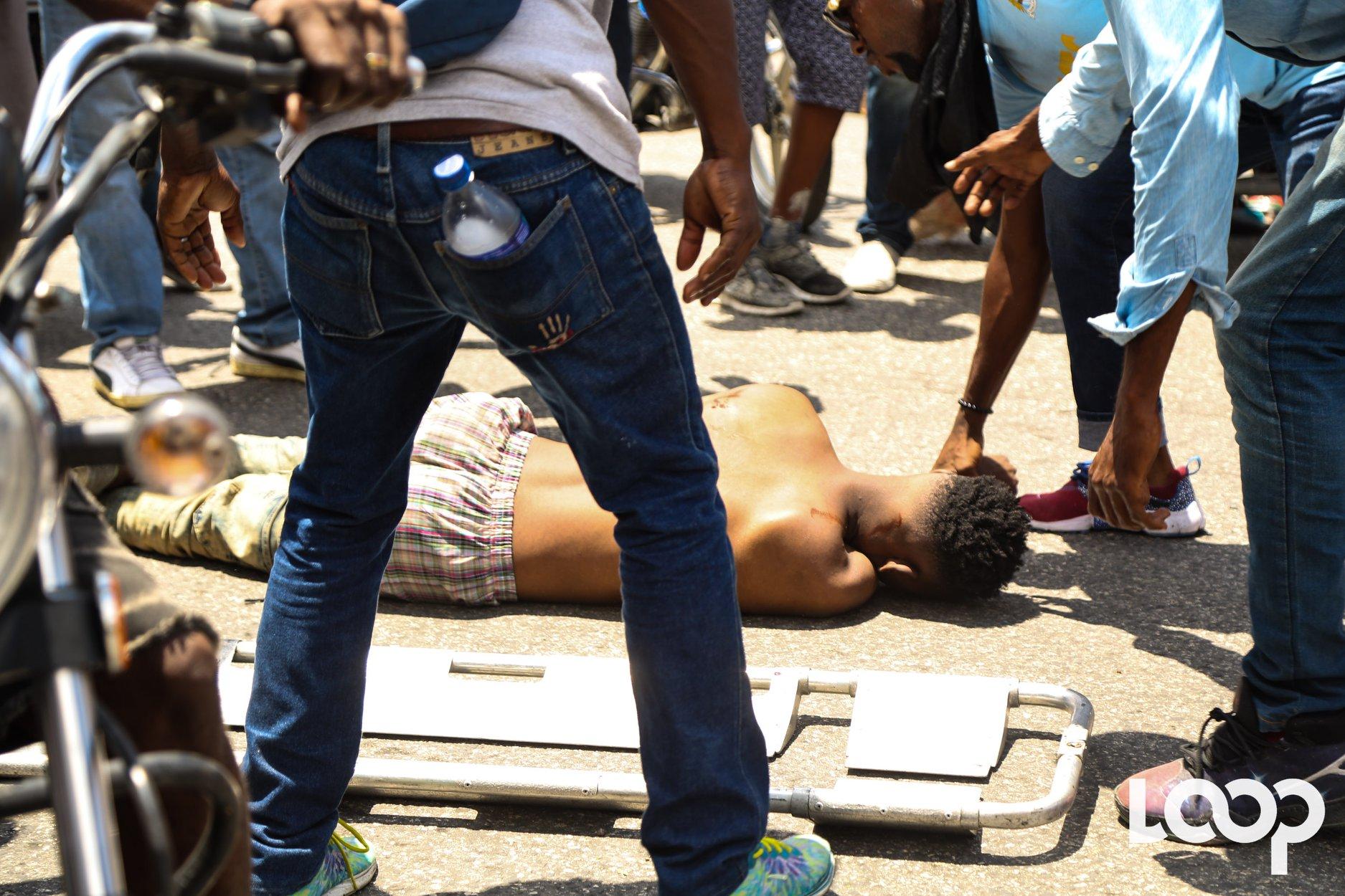 Illustration de manifestant victime de violence en Haiti.