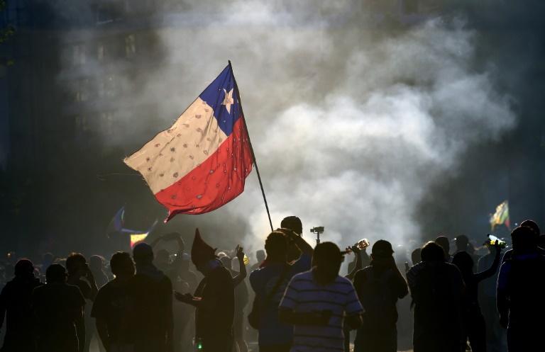 Manifestation antigouvernementale à Santiago du Chili, le 22 novembre 2019